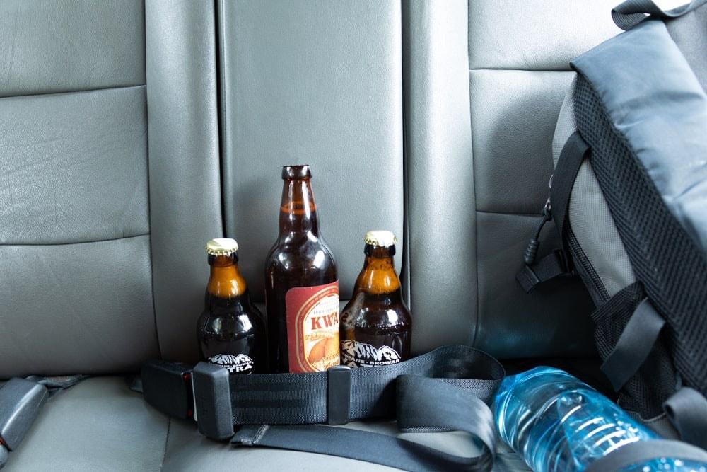 open beer bottle in car